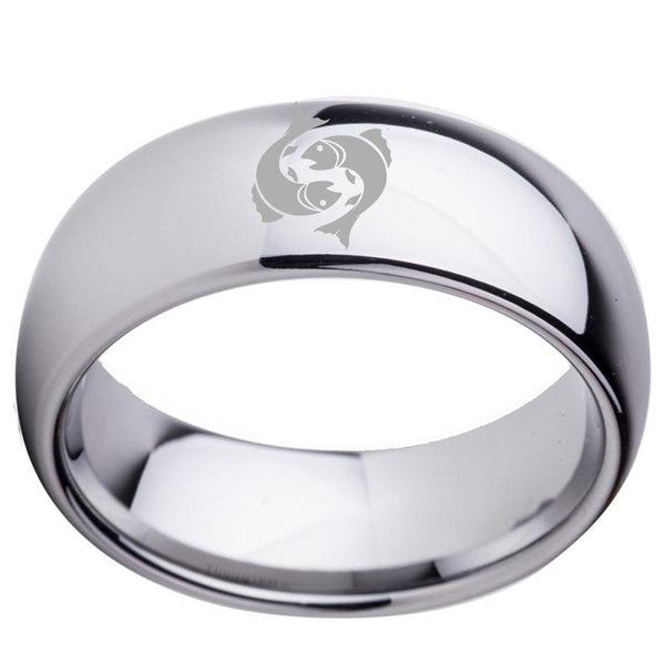 Two Fish Pisces Zodiac Silver Tungsten Mens Rings