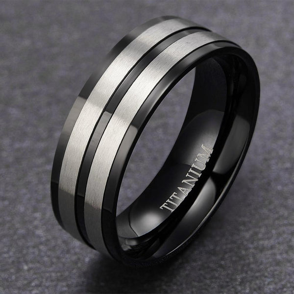 Personalized black and silver titanium mens ring