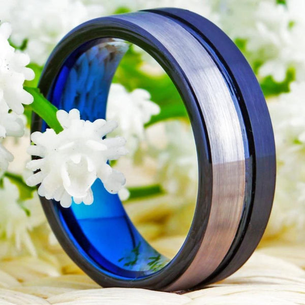 Blue and Silver Tungsten Mens Ring