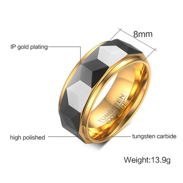 Unique gold and silver mens ring