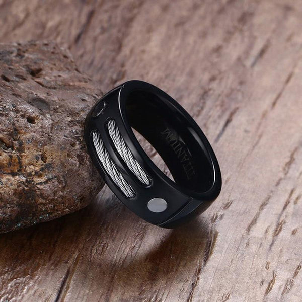 Black mens ring with custom engraving
