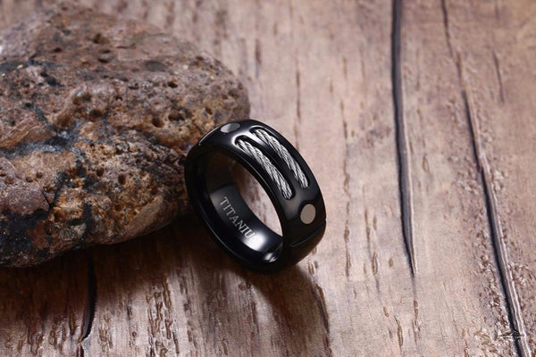 Cool black mens ring with custom engraving