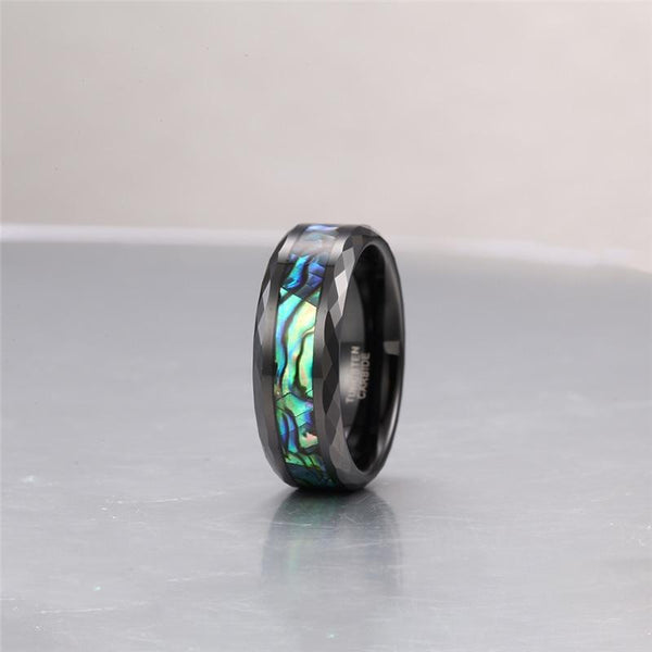 black and green tungsten mens ring