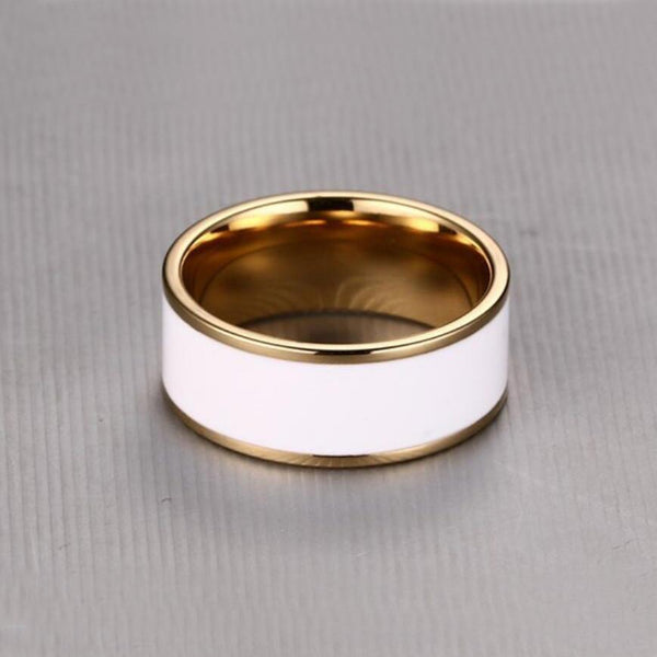8mm White and Gold Stainless Steel Mens ring