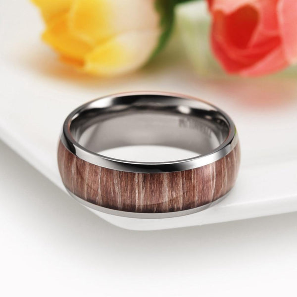 wood and silver mens ring gift for him