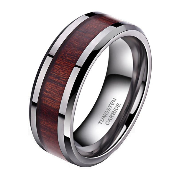 Wood mens rings - personalized silver tungsten mens ring