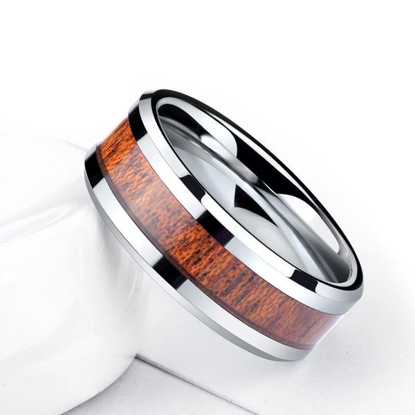 wood and silver tungsten mens ring