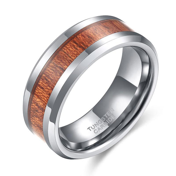 Wood rings - wood and silver tungsten mens ring