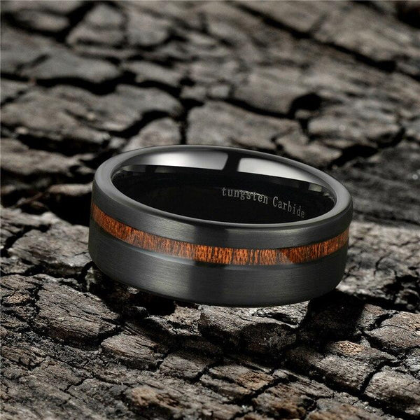 wood and black custom tungsten ring for men