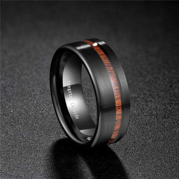 Wood mens rings - wood and black tungsten ring