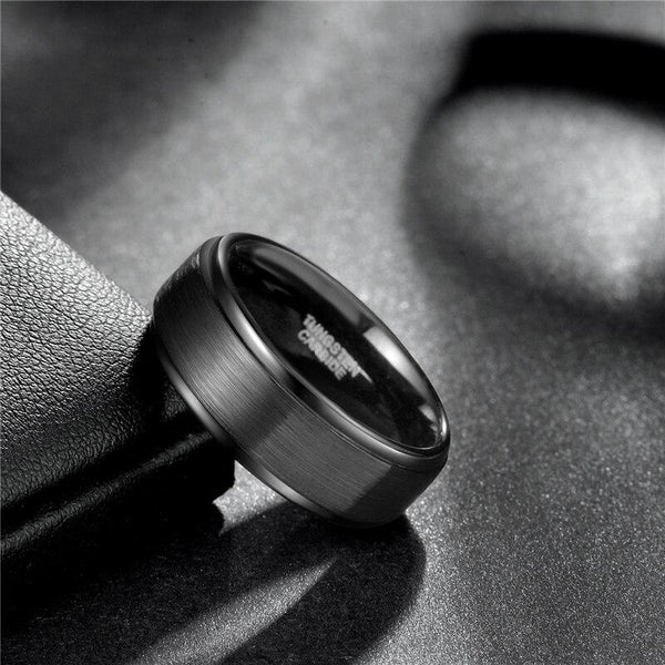 Personalized black tungsten mens ring