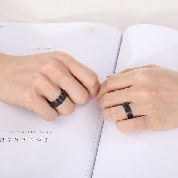 Couples rings - black his and hers matching ring bands