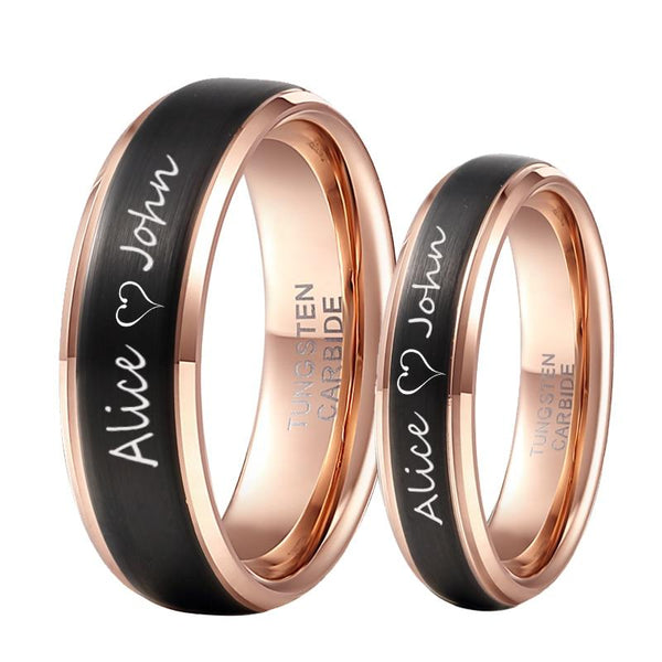 Personalized Names Black and Rose Gold Couples Rings