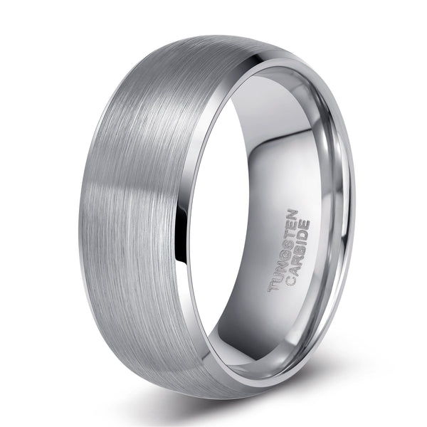 Personalized silver Tungsten mens rings