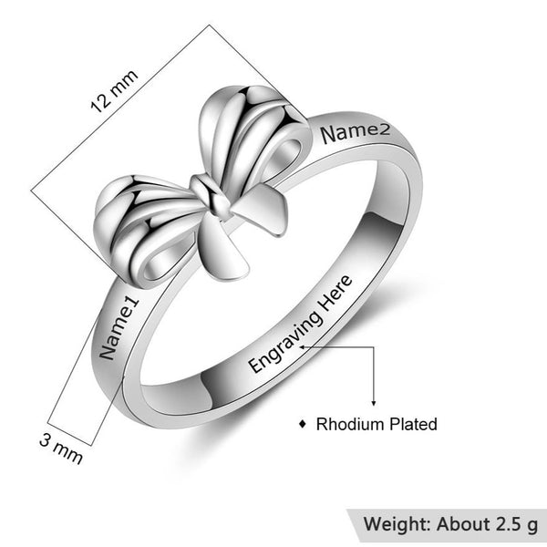 Personalized bow tie silver womens promise ring