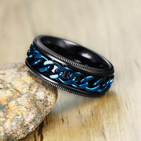 Mens Spinner Ring - Blue Black Stainless Steel Rotatable Spinner Ring