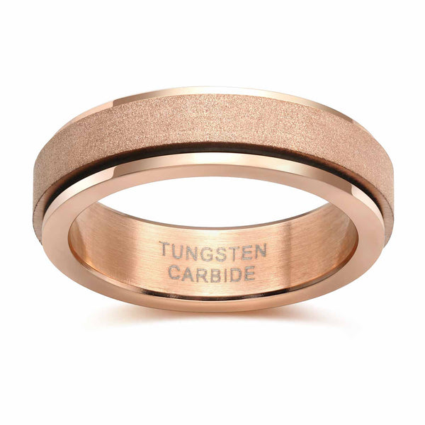 6mm Rose Gold Rotatable Unisex Fidget Spinner Ring Anxiety & Stress Relief Gifts For Him or Her