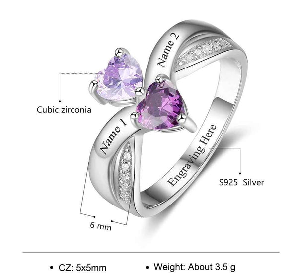 Personalized hearts birthstones womens promise ring