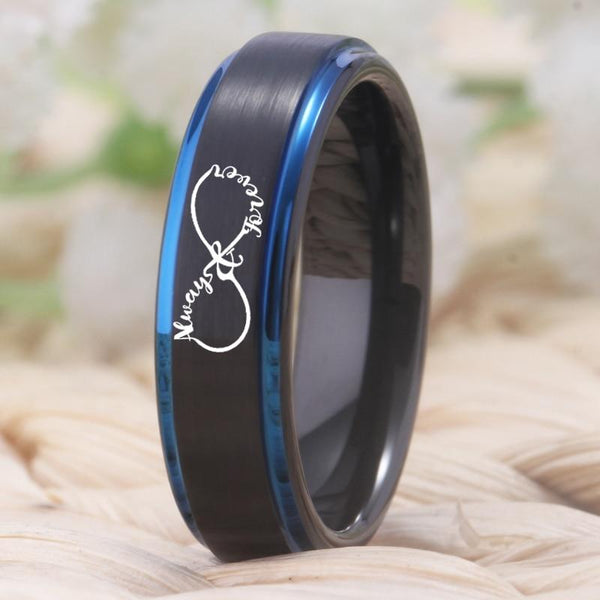 Infinity Heart Tungsten Couples Rings