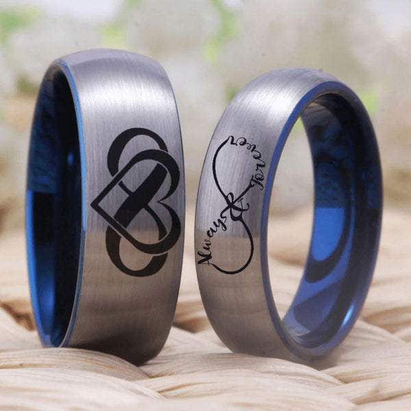 Infinity Silver Blue Tungsten Couples Rings