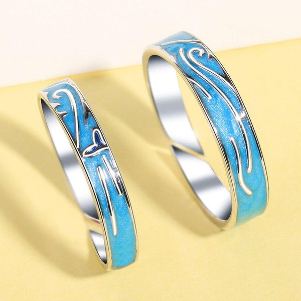 Blue Sea Oceans Matching Couples Rings