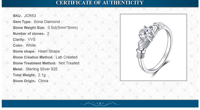 certificate of authenticity for Irish Claddagh ring