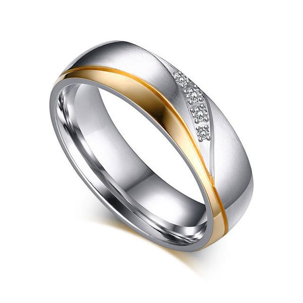 gold and silver matching couples ring set