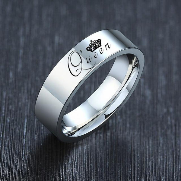 Queen crown silver womens ring