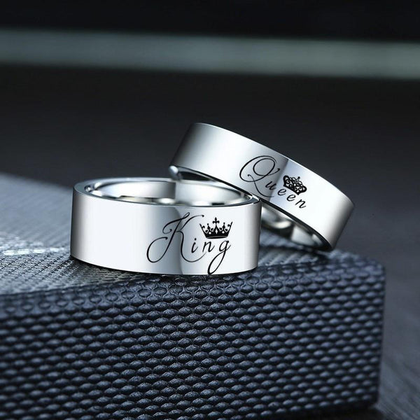 King and queen silver matching couples rings