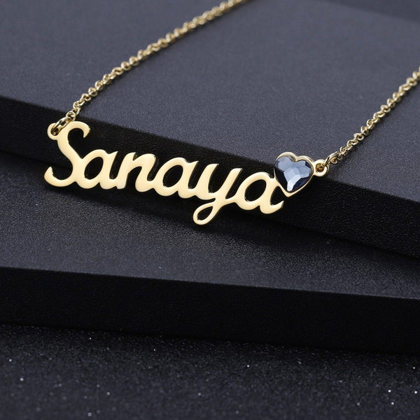 Personalized womens name necklace with birthstone