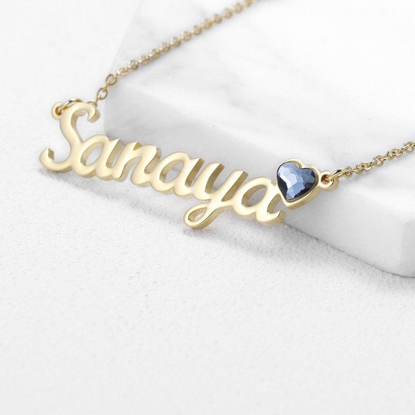 Personalized name necklace with birthstone for her