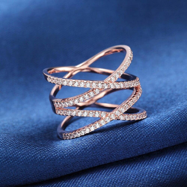 wrap cross rose gold sterling silver womens ring