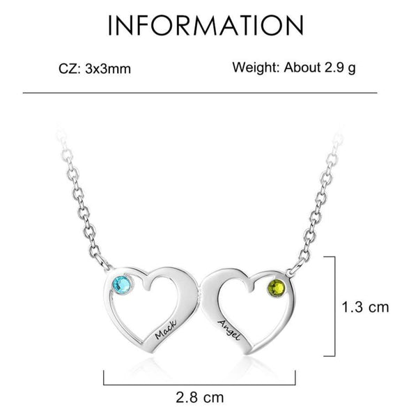 Two birthstones and engravings womens hearts necklace