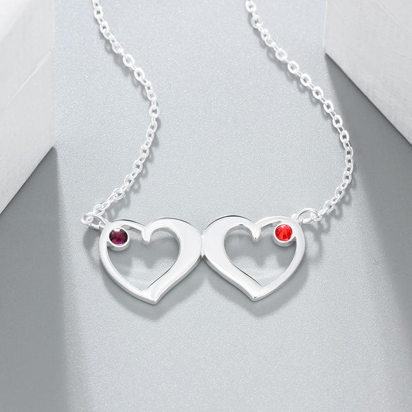 Two birthstones silver necklace for her
