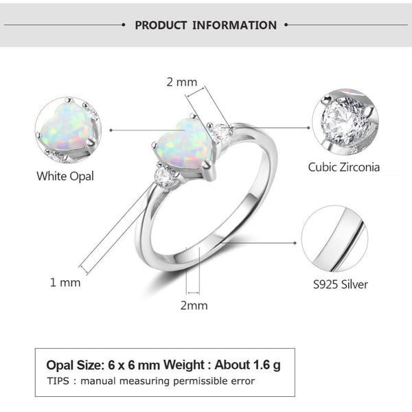 Promise rings for her - opal heart silver womens ring