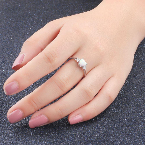 Promise rings for her - white opal heart silver womens ring