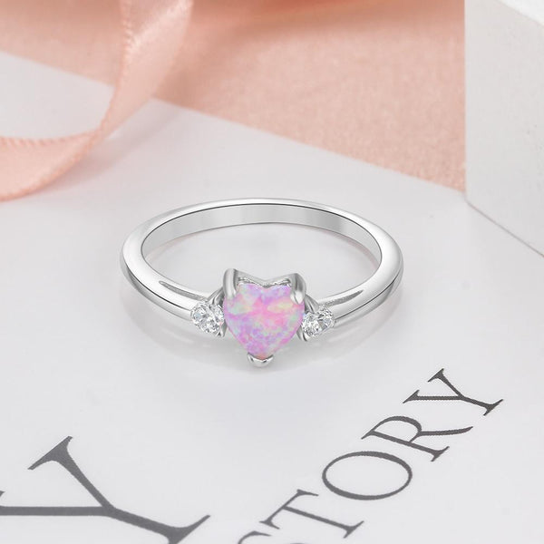 Promise rings for her - pink opal heart silver womens ring