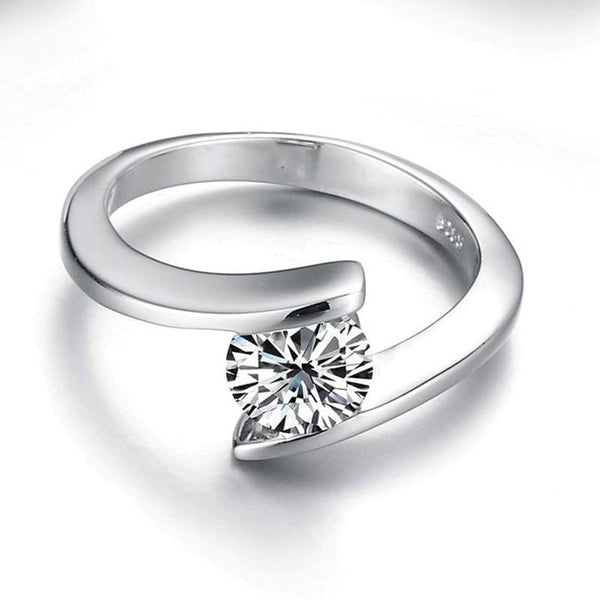 Promise rings for her - silver zirconia womens ring