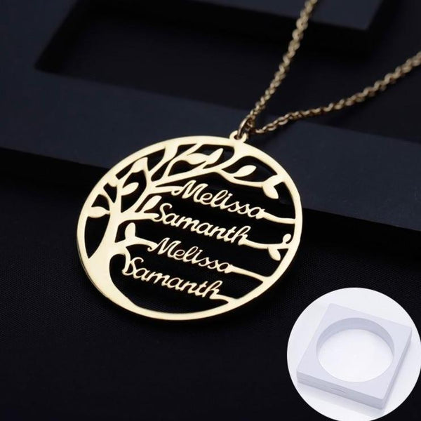 Family tree gold personalized names necklace