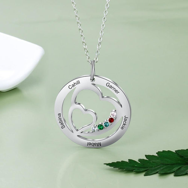 Personalized family names womens necklace