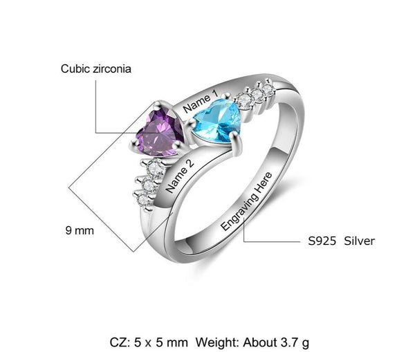 Personalized promise ring for girlfriend with birthstones