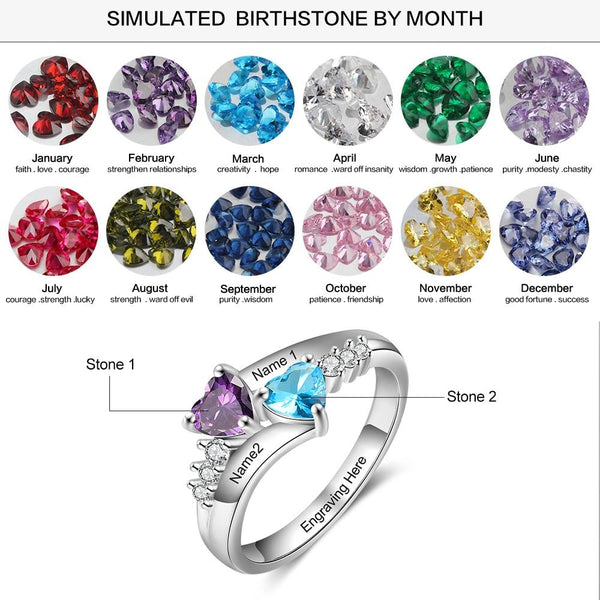 Personalized promise ring for her with two birthstones