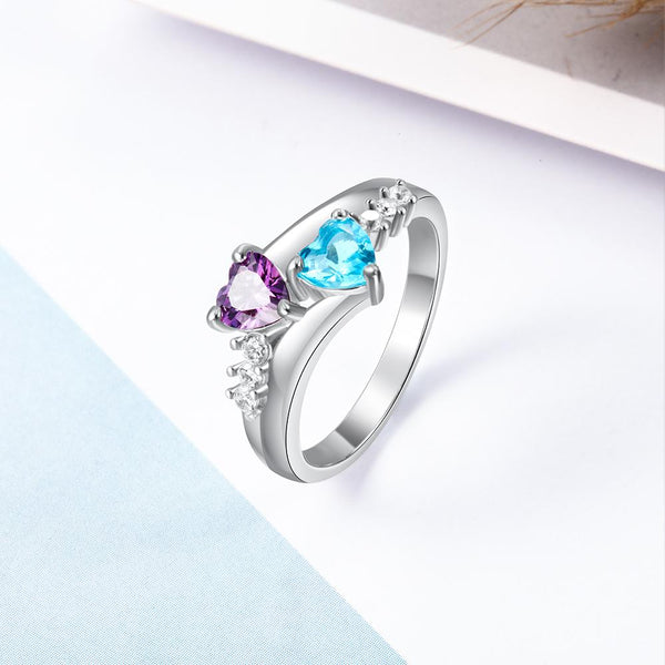 Two heart birthstones promise ring for her