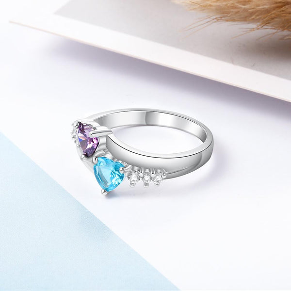 Two hearts birthstones promise ring for her
