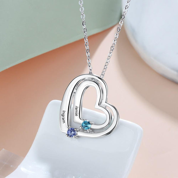 Hearts necklace for women with two custom birthstones