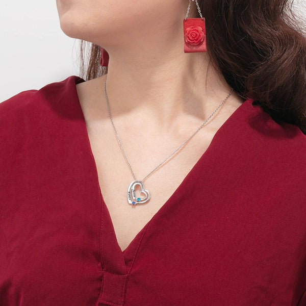 two custom birthstones necklace for her