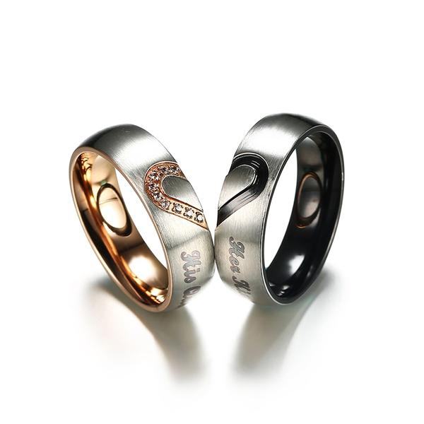 King and queen crown matching couples rings