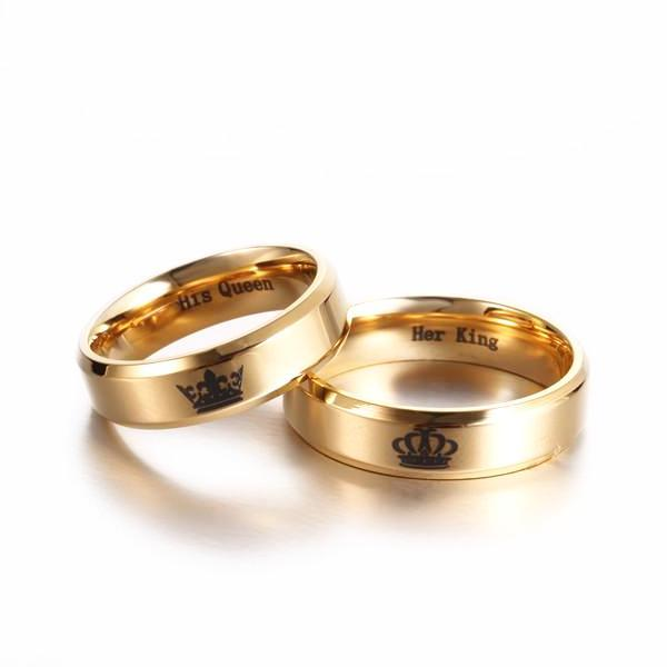 Her King & His Queen Polished Gold Couples Rings