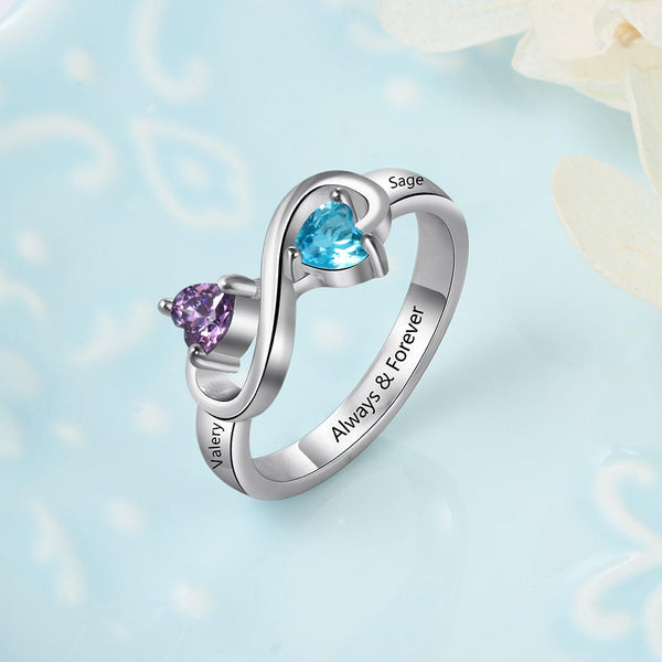 Infinity personalized sterling silver womens ring