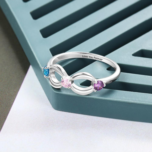 Personalized birthstones infinity womens ring